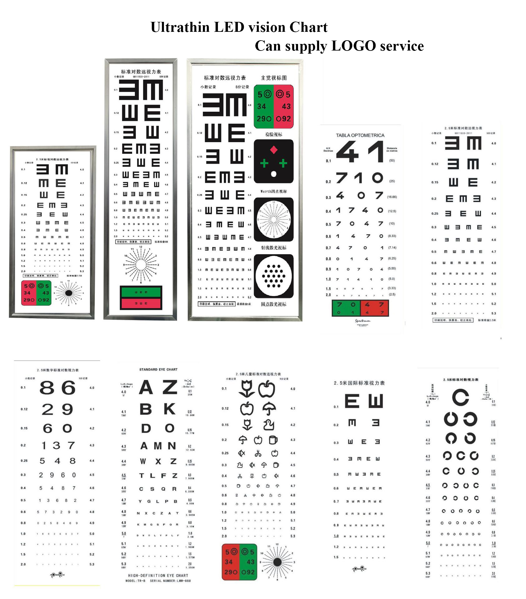 2.5M LED ultrathin Vision chart